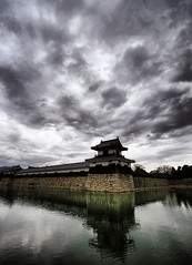 Storm Over Hiroshima Castle, Japan (` Toshio ') Tags: cloud storm reflection building castle history rain birds japan architecture asian japanese asia stormy hiroshima historical moat hdr highdynamicrange toshio hiroshimacastle