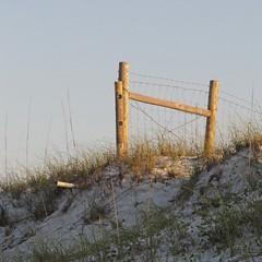 boundary line (weltreisender2000) Tags: santa morning light beach fence landscape wire sand post dune rosa minimal zen moment
