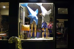 sharks eating models (omoo) Tags: newyorkcity window mannequins display westvillage streetscene jaws sharks shorts jackspade boxershorts greenwichvillage bleeckerstreet storedisplay summerclothing dscn3121 neighborhoodatnight spottedshorts sharkeatingmannequins sharkseatingmannequins silveervent sharkseatingmodels
