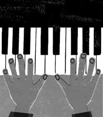 piano  (Kyoko Nemoto) Tags: white black art illustration photoshop magazine children japanese book drawing piano picture illustrator            kyokonemoto