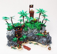 Pirate Paradise (Mark of Falworth) Tags: ocean sea water rock island lego scene jungle pirate moc rockwork