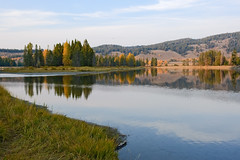Wrong Side of Oxbow Bend (bhophotos) Tags: travel autumn usa reflection nature river landscape geotagged evening nikon day snakeriver wyoming tetons grandtetonnationalpark gtnp oxbowbend d700 jacksonholevalley 70200mmf28gvrii projectweather pwfall pwpartlycloudy