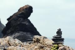 A Stack and a Rock (haberlea) Tags: sea beach rock landscape seaside stones pebbles llangrannog pebblestacking