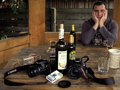 For those who are far away now! :)) (I) (halina.reshetova) Tags: carpathians ukraine village villagetukhlya relaxation relaxing mood camera photocamera bottle wine cognac beer table glass cigarettes persona son eyes glance september autumn travel journey trip blue grey white brown canon canonpowershota720is 22092013 paololivornosfriends hi daddy cool