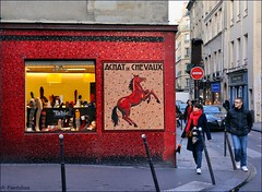 Paris le Marais / Old shopping windows / Old horse butchery  -2/2 (Pantchoa) Tags: old windows horse paris france stockings socks shop shopping nikon magasin mosaic nikkor bas mosaque lemarais chaussettes tabio d90 ruevieilledutemple rueduroidesicile 1685f3556gedvr vision:text=078 horsebutchery achatsdechevaux