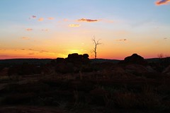 Devils Marbles - the day draws to a close #1 (robynbrody) Tags: sunset red sky tree nature stone clouds evening twilight rocks centre australia granite northernterritory devilsmarbles centralaustalia stuarthighway