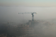 Fog over Erith (gagilas) Tags: fog cranes highrise erithpark