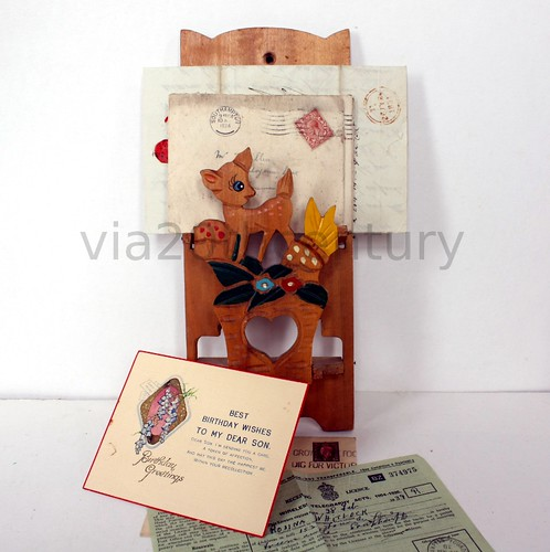 Vintage cute deer letter holder
