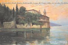 Romualdo Prati Punta Balbianello Lago di Como Olio su tavola 70x100cm