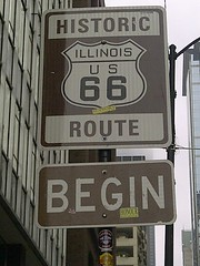 """""""Route 66 Begins"""" Sign (artistmac) Tags: city urban chicago sign losangeles illinois route66 milner adams michigan stickers 66 il route beginning corvette origin motherroad getyourkicks maharis route66begins"""