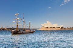 Australia (NiCK) Tags: city travel vacation house building tourism water harbor boat opera ship harbour sydney australia landmark tourists southern pirate sail hemisphere