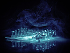 Battlefield Smoke (J_Q_H) Tags: blue glass canon smoke chess 2470 1dx