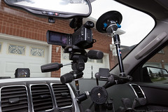 "Manfrotto Suction Cup and Magic Arm supporting the Sony Camcorder on a three position head. • <a style=""font-size:0.8em;"" href=""http://www.flickr.com/photos/65051383@N05/14111894893/"" target=""_blank"">View on Flickr</a>"