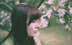 falling (undertovv) Tags: flowers nature face analog 35mm hair eyes girly side profile dream melancholy staring dreamer