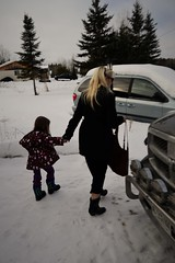 Walking to the Truck (Vegan Butterfly) Tags: family grandma winter snow cold cute girl outside outdoors kid child grandmother coat adorable granddaughter jacket together grandchild