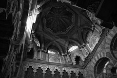 Cordoba's Mezquita (virtualwayfarer) Tags: travel winter blackandwhite travelling church architecture design blackwhite spain europe mediterranean cathedral islam columns january catedral mosque andalucia historic unesco worldheritagesite southern espana arab moorish cordoba mezquita moors column christianity vaulted andalusia moor bnw catedraldenuestraseoradelaasuncin andelucia mosquecathedral