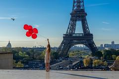 Always different (julialarrigue) Tags: blue light red sky paris eiffeltower balloon eiffel