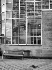 Hospital Bench (R A Pyke (SweRon)) Tags: blackandwhite bw public hospital bench space alien fujifilm desolate inhuman sweron x100s 20160416