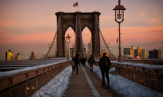 Brookyn Bridge at sunset