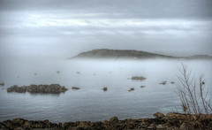 Fort Albert, Alderney in the fog (neilalderney123) Tags: sea weather fog landscape boats bay fort alderney braye 2016neilhoward 2016neilhoward
