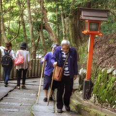 Climbing up Kurama-dera.Wish I can do that at their age... (: ) :) Tags: japan stairs japanese climb couple walkingstick elderly kuramadera