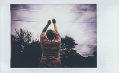 Day 012 (H o l l y.) Tags: pink portrait sky film weather fashion clouds analog self vintage photo lomography fuji dress retro indie instant storms instax lomoinstant
