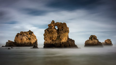 The four horsemen (Ramn Menndez Covelo) Tags: panorama color colour praia beach portugal horizontal speed landscape outdoors nikon long exposure day slow playa panoramic filter nd shutter baja algarve velocidad da aire libre density larga d800 neutral exposicin filtro 2470 neutra obturacin lenta densidad firecrest arrifes