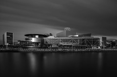 Salford (mg photography2) Tags: city uk england urban monochrome architecture clouds manchester mono media long exposure cityscape theatre architectural salford lowry mediacity