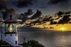 Makapuu Lighthouse 01 (Juneau Biscuits) Tags: ocean sea lighthouse beach clouds sunrise skyscape hawaii oahu bluesky honolulu cloudscape makapuu makapuulighthouse