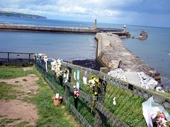 Whitby North Yorkshire, floral tributes and harbour (rossendale2016) Tags: flowers sea floral fence harbour yorkshire north thoughtful whitby colourful tributes overlooking attached