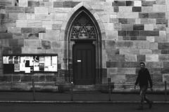 Wall of St.Dionys (Isengardt) Tags: street door man church wall germany deutschland europa europe stones wand kirche olympus advertisement steine posters mann werbung tr plakate omd esslingen em1 badenwrttemberg schwarzesbrett strase 1250mm stdionys