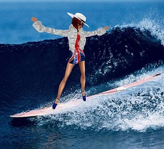 surfing1 (SoakinJo) Tags: wetlook wetclothes wetfur wetdress unionjackdress surfinginheels