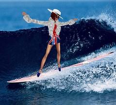 surfing1 (SoakinJo) Tags: wetlook wetclothes wetfur wetdress unionjackdress surfinginheels