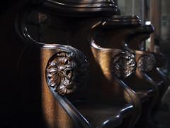 holy trinity skipton6 (ian.meekham) Tags: wood light shadow texture church wow dark yorkshire olympus carving negativespace lightshadow tone pews lightandshadow woodcarving churchinteriors em5 yorkshirechurches olympusem5