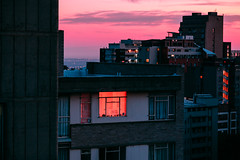 Johannesburg (elsableda) Tags: africa city pink light sunset sky urban building window architecture night clouds southafrica twilight cityscape view south johannesburg joburg aparments