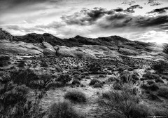 Sunset at Valley of Fire #3 in BW (Matt Anderson Photography) Tags: road travel sunset summer blackandwhite bw usa mountain plant southwest nature horizontal landscape outdoors photography day desert nevada meadow surreal tranquility nopeople panoramic valley copyspace sunrays dramaticsky barren scenics mojavedesert sunstar valleyoffirestatepark orangecolor wonderlust cloudsky traveldestinations colorimage beautyinnature animalwildlife rockobject