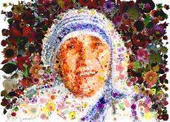 Madre Teresa (Simone Genghini) Tags: peace god jesus mosaics popart papa pace p religions madreteresadicalcutta poorpeople clero simonegenghini