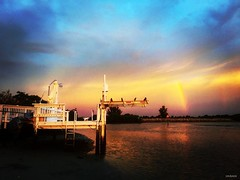 Stairway To Heaven(ly) Double Rainbow - IMRAN (ImranAnwar) Tags: travel winter sunset red sea sky panorama sun inspiration beach gulfofmexico nature water yellow night photoshop tampa outdoors landscapes rainbow marine flickr seasons tampabay florida dusk surreal peaceful tranquility boating imran yachting iphone lifestyles 2016 apollobeach imrananwar iphone6splus