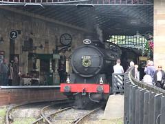 Five to three in Pickering station (SierPinskiA) Tags: diesel pickering steamlocomotive grosmont northyorkshiremoorsrailway diesellocomotive preservationrailways fujixs1
