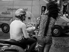 international (MarioMancuso) Tags: life street city boy people blackandwhite bw italy white man black girl look bike hair photography mono see photo noir documentary talk olympus naples 17 streetphoto van 18 blanc omd reportage monocrome 17mm