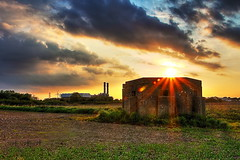 Old and new (BenChapmanphoto) Tags: world bridge sunset 2 two urban field lens landscape concrete golden war lincolnshire bunker flare ww2 powerstation hdr sutton starburst pillbox urbex