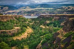 A Canyon to a Gorge (ahockley) Tags: trees oregon river landscape unitedstates cliffs columbiariver columbiarivergorge mosier