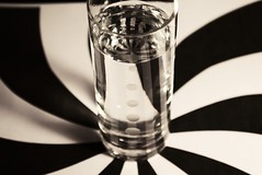 (Rebecca_Renee) Tags: red white black water glass photo cool stripes swirl shotglass