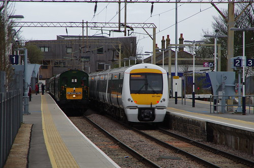 c2c Shoeburyness with Bombardier Electrostar Class 357 electric multiple unit 357.044 and visiting DEMU 1001