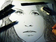 201306161839 (lindenb) Tags: portrait art face look illustration pen pencils paper sketch eyes hand drawing retrato femme main sketching gimp dessin papier fille visage regard stylo feutre onedrawingaday