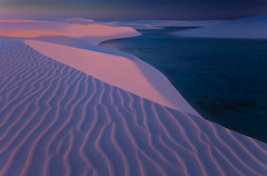 Pink Sands by Michael Anderson (AndersonImages) Tags: pink blue sunset brazil beach brasil twilight sand dunes lagoon ripples lencoismaranhenses michaelanderson