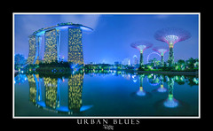 Urban Blues (Ashley Teo (PilotPotato)) Tags: travel blue sky urban panorama water beautiful architecture night buildings reflections landscape lights golden evening bay nikon singapore long exposure glow cityscape slow magic wide dramatic wideangle scene architectural hour shutter epic blending d7000