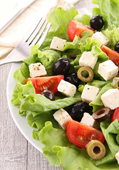 mixed salad (ElBosqueHotel) Tags: food france cheese dinner tomato lunch cuisine salad healthy mixed starter olive vegetable fresh lettuce vegetarian dining appetizer diet crouton culinary feta freshness gastronomy nutrition