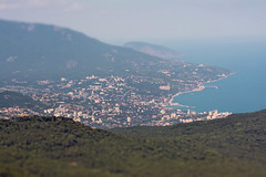 (Khuroshvili Ilya) Tags: city sea summer sky urban mountains building nature architecture clouds canon buildings landscape horizon ngc shift ukraine tilt crimea yalta ua tiltshift 2013 nvbr nvbr11