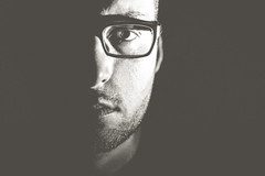 self (FREISTELLEN) Tags: portrait people blackandwhite selfportrait man black closeup self germany beard glasses dresden blackwhite bokeh saxony bart mann brille selbstportrait neustadt dresdenneustadt blackwhitephotos